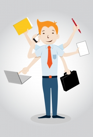 tasking: Businessman with multi tasking and multi skill