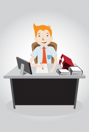 Happy Hard working night in office. vector illustration
