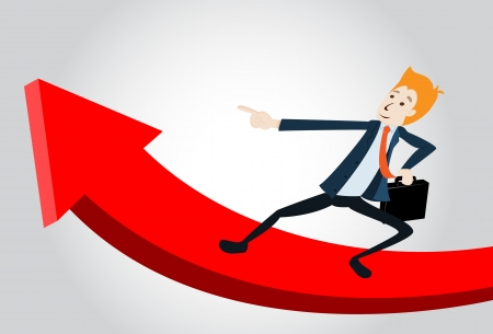 Smiling Business Manager Running Upwards On A Statistics Arrow Vector
