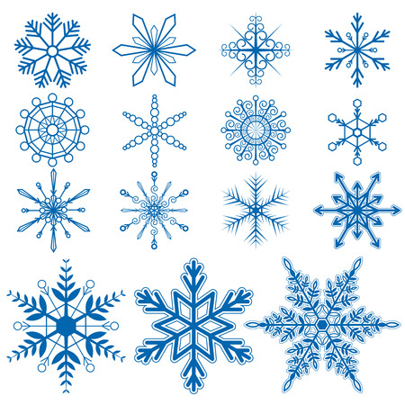 Snowflake set1 Vectors on white background