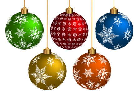 Colorful Chrismas Ball on white background. Vector Format