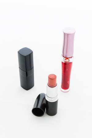 Group decorative cosmetics for makeup. Still life on white background photo
