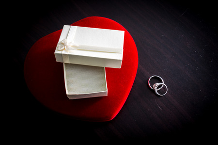 heartshaped: Heart-shaped box , Gift box , engagement ring on old wood