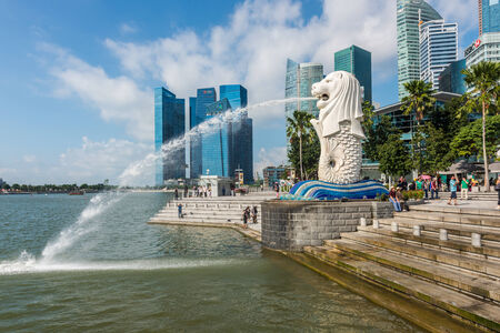 SINGAPORE - JUNE 20, 2014: Singapore landmark Merlion with daytime
