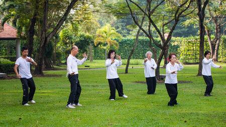 Bangkok, Thailand - November 30, 2014 : People practising tai chi in the park, at Suanluang RAMA IX public park, Bangkok, Thailand 新聞圖片