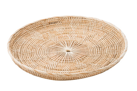 rattan mat: Wicker placemat isolated on white background Stock Photo