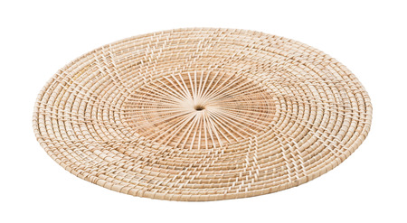Wicker placemat isolated on white background Foto de archivo