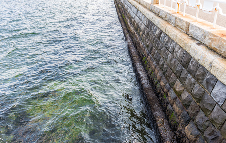 seawall: Seawall in the yokohama bay, japan
