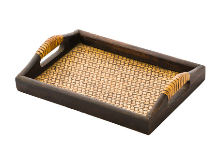 chinese bamboo: Chinese bamboo woven tray isolated on white background Stock Photo