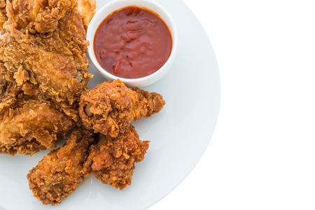 pollo frito: pollo frito está aislado en el fondo blanco Foto de archivo