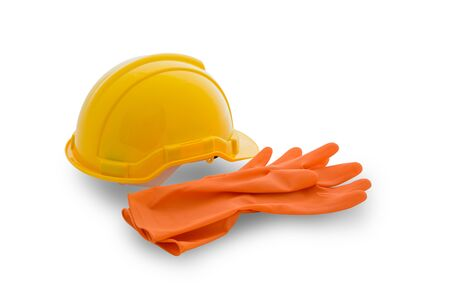safety gear: Safety gear kit isolated on white background with clipping path Stock Photo