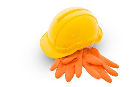 safety gear: Safety gear kit isolated on white background Stock Photo
