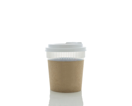 thermo: Take-out coffee in thermo cup. Isolated on a white background with clipping path