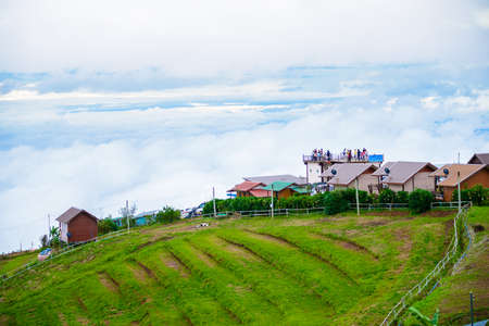 lodges: PHUTHAPBOEK PHETCHABUN THAILAND - OCTOBER 10 : Resorts and lodges on the mountain with sunset at morning from view point ,Phu Thap Boek,  OCTOBER 10, 2015 in PHETCHABUN THAILAND