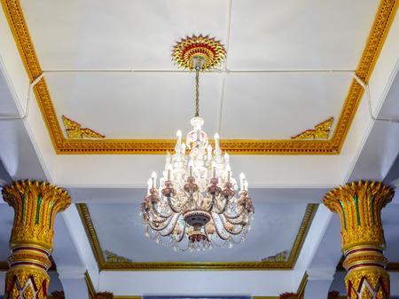crystal chandelier: beautiful crystal chandelier in a room
