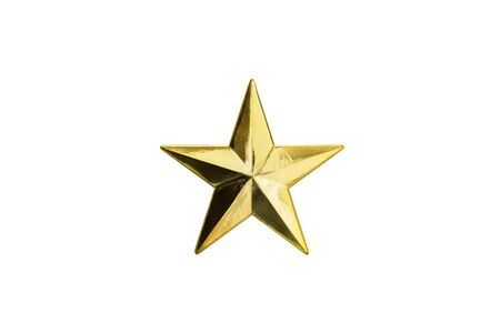 jewell: Golden Christmas Star isolated on white Background. Top View Close-Up Gold Star. isolated on white