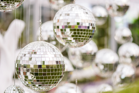 mirror ball: Silver disco mirror ball, The decorations Stock Photo
