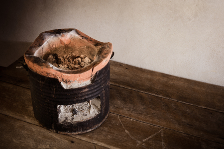 stoking: Antique charcoal stove on wooden floor