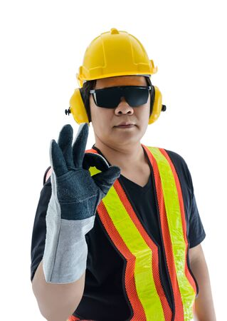 agree: I agree. male construction worker with Standard construction safety equipment isolated on white background