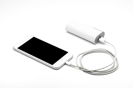 White smart phone charger with power bank (battery bank) on white background