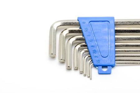 hex key: hex key wrench set isolated on white background