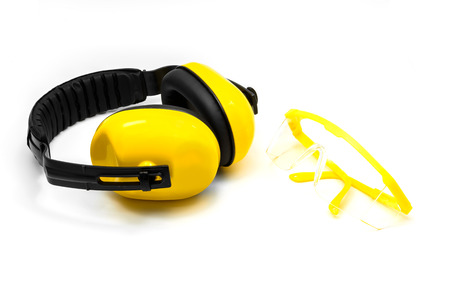 protective goggles: Ear muffs and Protective goggles isolated on white background Stock Photo
