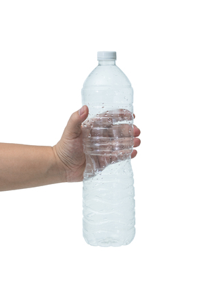 emty: Man holding a emty bottle of water isolated on white background
