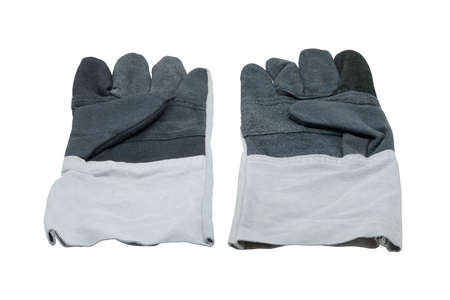 white work: protective work gloves isolated on white background with clipping path Stock Photo