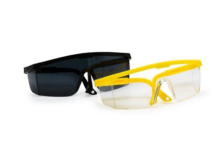 Veiligheidsbril op een witte achtergrond wordt geïsoleerd die Stockfoto