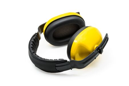 decibels: Protective ear muffs Isolated on a white background Stock Photo