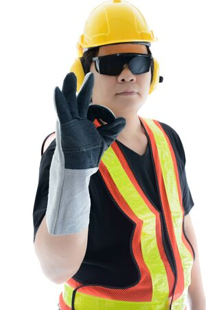 agree: I agree. male construction worker with Standard construction safety equipment isolated on white background. Focus at Hand