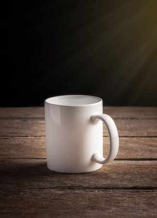 emty: Emty White Cup of coffee on wooden table