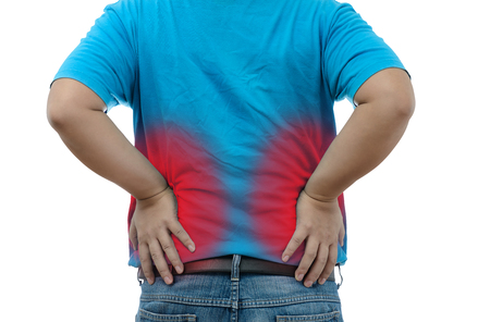 throe: Young man suffering from strong backache on white background with clipping path Stock Photo