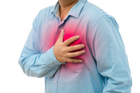 throe: Young man with strong chest pain on white background