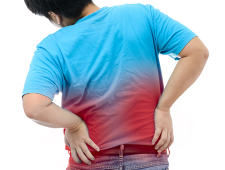 throe: Young man suffering from strong backache on white background