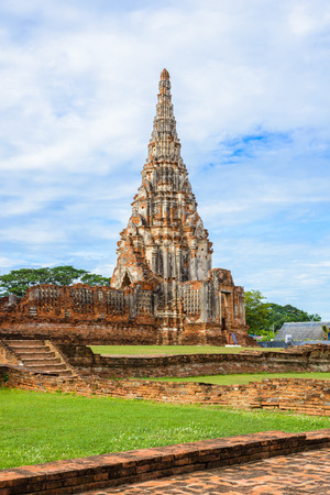Majestic ruins of 1629 Wat Chai Watthanaram built by King Prasat Tong with its principal Prang (center) representing Mount Meru, the abode of the gods