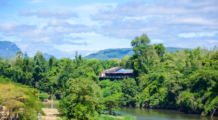 View From Death Railway bridge over the Kwai Noi River at Krasae cave in Kanchanaburi province Thailand