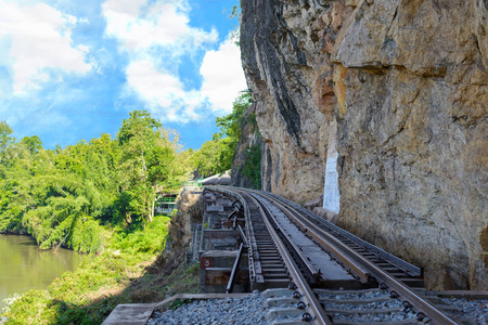 Beautiful landscape of Death Railway bridge over the Kwai Noi River at Krasae cave in Kanchanaburi province Thailand Stock Photo
