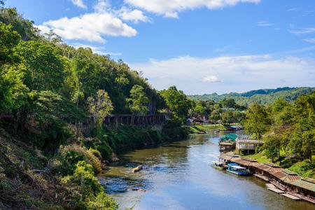 floating bridge: Beautiful landscape of Death Railway bridge over the Kwai Noi River at Krasae cave in Kanchanaburi province Thailand Stock Photo