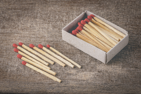 danger box: Box of matches on wooden background