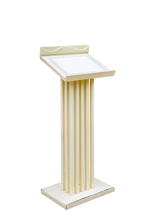 tribune: White Wooden Podium Tribune Rostrum Stand Isolated on White Background with clipping path