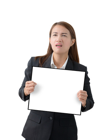 white poster: Asian Business woman holding a banner isolated on white background Stock Photo