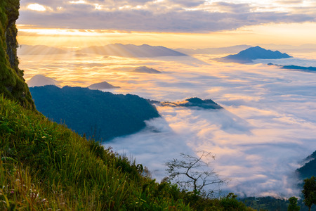 Sunrise and sea of mist, view from phucheefa forest park mountain at Phucheefa,Chiangrai province ,North of Thailand.  THE PEAK OF MOUTAIN POINT TO THE SKY