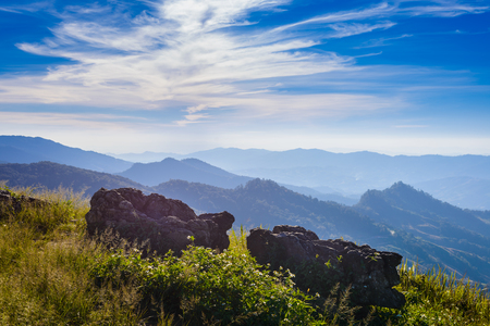 beautiful location: background of nature at Doi Pha Tang viewpoint ,Chiang Rai province in Thailand.  beautiful location and very popular for photographers and tourists