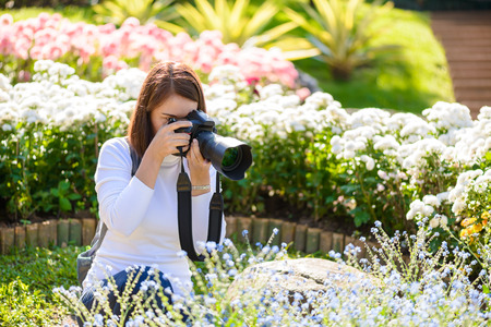 Female photographer taking pictures of flowers in flowers garden Stock Photo