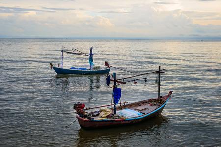 hua: Small fishing boats in the sea Hua Hin ,  Prachuap Khiri Khan, Thailand