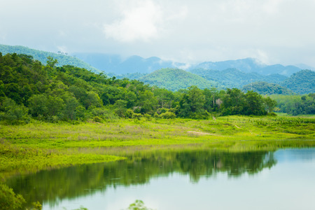 Landscape Natrue and a water mist at Kaeng Krachan Dam. Kaeng Krachan National Park, Petcahburi Thailand,