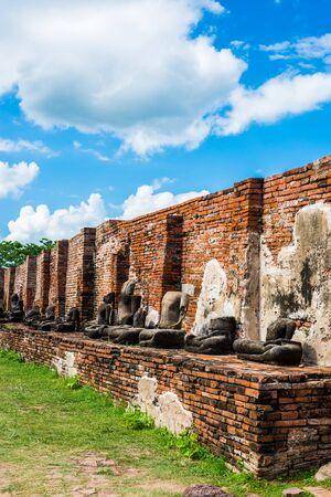 Ayutthaya temple ruins, Wat Maha That Ayutthaya as a world heritage site, Thailand. Ayutthaya historical park Stock Photo