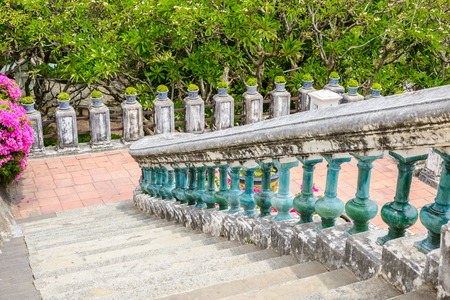 Stairs and railings made of cement retro style in Phra Nakhon Khiri Historical Park (Khao Wang), Phetchaburi, Thailand Stock Photo