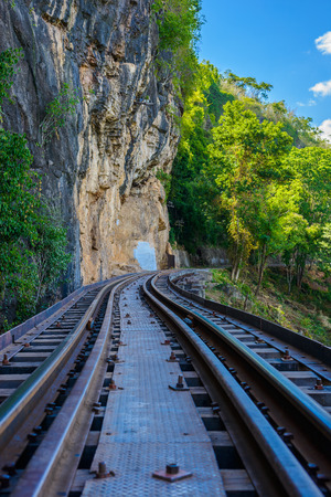 Death railway, over the Kwai Noi River at Krasae cave, built during World War II,Kanchanaburi Thailand